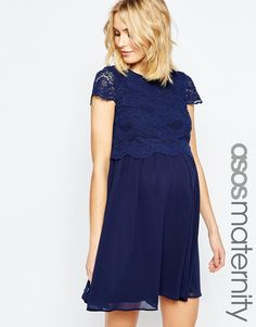 c25f0c14ef37d Image 1 of ASOS Maternity Skater Dress With Lace Crop Top Maternity Sewing, Asos  Maternity