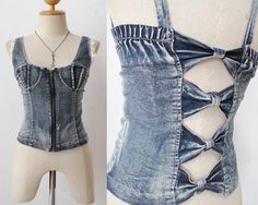 Bustier SHIRT Hippie corset LACE Blouse rockabilly PINUP CUTOUT top DENIM TANK | eBay