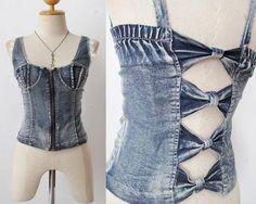 Bustier SHIRT Hippie corset LACE Blouse rockabilly PINUP CUTOUT top DENIM TANK | eBay