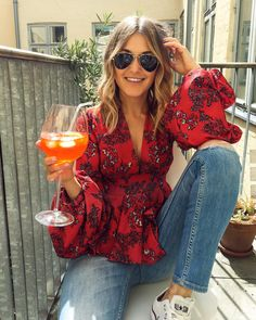 """Matea Gecevic on Instagram: """"Warming up for Swedish Midsummer celebration (with both ☀️ and 🍷) . . . #midsummer #midsommar #gladmidsommar #swedishmidsummer…"""" Celebration, Ruffle Blouse, Warm, Instagram, Tops, Women, Fashion, Moda, Fashion Styles"""