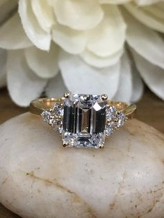 Emerald Cut Engagement Ring With Round Accents, Wedding Anniversary Promise Ring, Gift for her, Bridal Gift, 14K Yellow Gold #5569