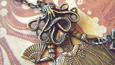Necklace Octopus Jewelry Octo Girl Creepy Gothic Victorian Pirate Woman Original Assemblage Steampunk Art Jewelry Designed By Cosmic Firefly
