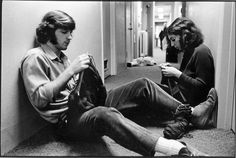 Students knitting in a co-ed residence hall,   Beloit College, 1970.