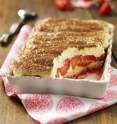 Pour changer du tiramisu au café, faites un tiramisu express aux fraises, proposé par le Quatre-quarts Ker Cadélac. Crédit photo : A Point Studio / Ker Cadélac