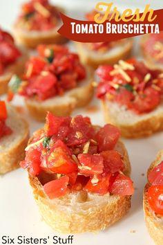 Fresh Tomato Bruschetta SixSistersStuff.com