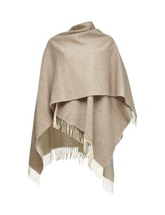 GUSTO PONCHO-Women's reversible poncho in wool. Plain colours with rolled fringing in main fabric. Size: 170 x 130 cm. Made in Italy Womens Scarves, Colours, Wool, Fabric, How To Make, Italy, Tejido, Fabrics, Italia