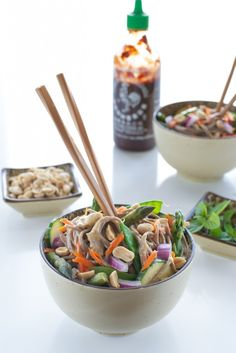 Spicy Peanut Sauce With Brown Rice Noodles And Veggies Recipe ...
