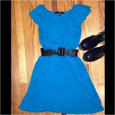 Blue mini dress Super soft forever 21 dress. Band at waist with black belt. Dress also has pockets! Looks super cute with cowgirl boots or wedges! The black belt is stretch out some and worn, so may need a new belt! Forever 21 Dresses Mini