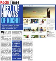 The Times Of India - Kochi Times Features 'Humans Of Kochi'