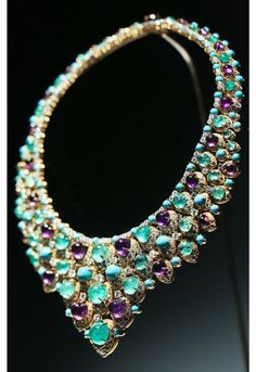BVLGARI - A 1965 'Bib' Necklace in Gold with Emeralds, Amethysts, Turquoise and Diamonds from the exhibition, 'BVLGARI, Italian Magnificence' to celebrate the 5th anniversary of the Bulgari Ginza Tower building in Tokyo on November 2012.