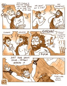 prometheus, our hero. >>> I can almost feel his pain Greek Memes, Greek Gods And Goddesses, Greek And Roman Mythology, Lore Olympus, Hades And Persephone, Me Anime, Rick Riordan Books, Percy Jackson Fandom, Heroes Of Olympus