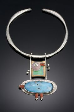 A unique and interesting neck piece by artist Felicia Szorad  She is using Sterling silver, fine silver, vitreous enamel on copper, wood, glass beads. see more...  http://crafthaus.ning.com/photo/photo/listForContributor?screenName=0up29u5pa12pg