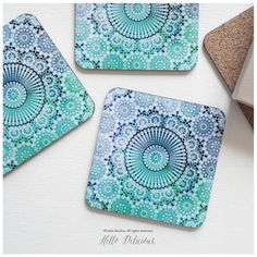 Coaster Set of 4 Moroccan Tile Print Geometric by HelloDelicious