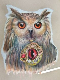 The Time Keeper Owl an ORIGINAL drawing in Prisma color pencil all artworks are for sale.