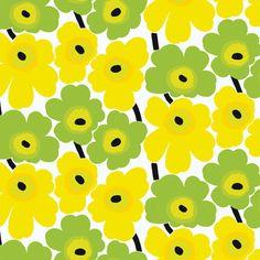 Marimekko Pieni Unikko x Floral Wallpaper Color: Green / Yellow Wallpaper Color, Marimekko Wallpaper, Floral Wallpaper Iphone, Marimekko Fabric, Trendy Wallpaper, Wallpaper Backgrounds, Textures Patterns, Print Patterns, New Wall