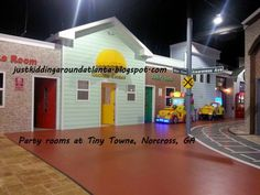 Just Kidding Around Atlanta: Tiny Towne Review ~ Atlanta Family Fun Destination Cute party rooms - this would be a great place to have D's party!
