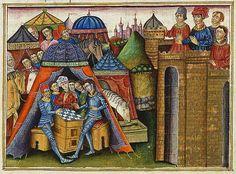 Roman du chevalier Cifar. Castille, Spain, 14th century. Miniature by Juan de Carrion. Bibliotheque National de France, Paris, Manuscript Esp. 36 folio 19.