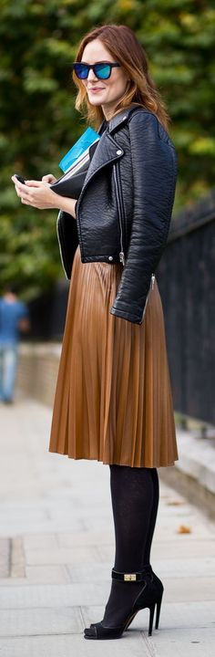 Work a leather jacket back with feminine elements to toughen your look. www.stylestaples.com.au
