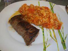 Steack et risotto � la tomate