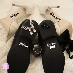 Check out this item in my Etsy shop https://www.etsy.com/uk/listing/260273125/custom-wedding-shoes-decal-set-your-name