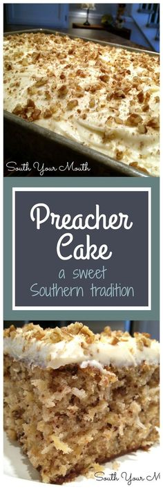 Preacher Cake - Tender, moist cake with crushed pineapple, pecans & coconut with a cream cheese frosting. An old Southern tradition to make this cake when the preacher comes by for a visit. 13 Desserts, Brownie Desserts, Delicious Desserts, Southern Desserts, Southern Recipes, Brownie Frosting, Potluck Desserts, Desserts For A Crowd, Southern Food