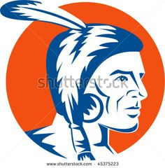 vector illustration of a native american indian looking to the side #NativeAmerican #retro #illustration