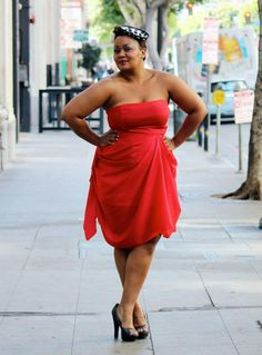{Lady in Red} REAL Curvy Girl inspiration from Marie Denee, her blog: www.TheCurvyFashionista.com
