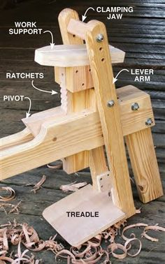 Woodworking Shop Hybrid Shaving Horse_how it works - Hybrid Shaving Horse Expert craftsman Tom Donahey shares his plans for an essential tool to work green wood. By Tom Caspar Few woodworking experiences are as sweet as working wood that's just been… Green Woodworking, Woodworking Patterns, Woodworking Workbench, Popular Woodworking, Woodworking Crafts, Woodworking Projects, Woodworking Magazine, Woodworking Horse, Woodworking Jigsaw