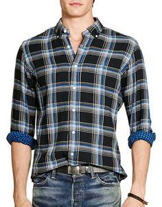 Polo Ralph Lauren Plaid Double-Faced Sport Shirt Men's Black/Blue Larg