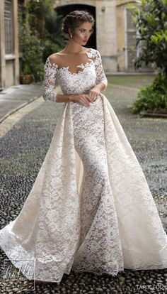 "bellethemagazine:""Tarik Ediz Wedding Dresses 2019 - The White Bridal Collection. Lace fitted sheath drem wedding dress with overskirt illusion off the shoulder neckline vintage long lace sleeves Western Wedding Dresses, Designer Wedding Dresses, Bridal Dresses, Bridesmaid Dresses, Prom Dresses, Wedding Dress Sleeves, Long Sleeve Wedding, Dresses With Sleeves, Dress Wedding"