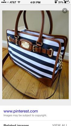 4ff98f2938dc Michael Kors Hamilton Navy Blue White Striped Leather Trim EW Tote Handbag  --Cheap Michael kors sale For Gift.