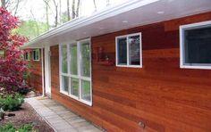 Redwood siding w white trim u shape home landscape - Exterior grade plywood home depot ...
