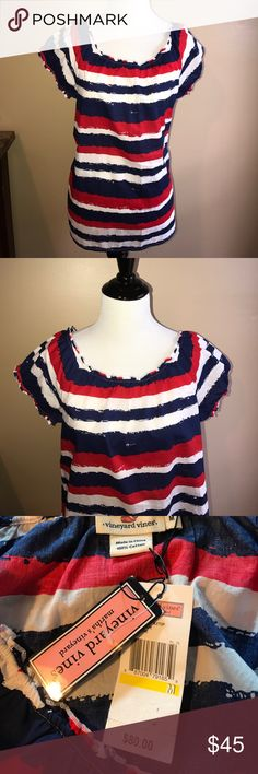 NEW Vineyard Vines Fourth of July Top Sz M 🇺🇸 New with tags! Vineyard vines memorial day/4th of July, red white and blue striped top. I have two size mediums available. Comes from a smoke free and pet free home 🏡 . Retail value $80. Vineyard Vines Tops Blouses