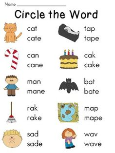 Silent E Worksheets for Long Vowel and Short Vowel Discrimination Jolly Phonics, Teaching Phonics, Teaching Kids, English Phonics, Teaching English, Kindergarten Reading, Teaching Reading, English Activities, Literacy Activities