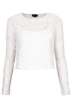 Beautiful white embroided top from topshop Topshop T Shirts, Topshop Tops, Floral Mesh Top, Floral Tops, T Shirt Crop Top, Crop Tops, Shirt Embroidery, Embroidered Shirts, Floral Print Shirt