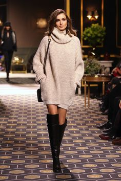 #winterfashion #perfect Andreea Diaconu | Sweater Dress   Over-The-Knee-Boots