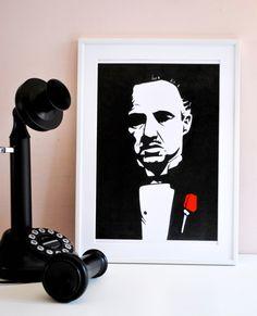 The Godfather/ Marlon Brando/ print/ portrait/ stencil/ freehand/ drawing/ movie/ home decor/ art wall/ 83x117inches