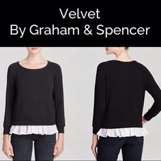 Velvet by Graham & Spencer Ruffle hem Sweater Dainty ruffle peeks out of the hemline of this Velvet by Graham & Spencer pullover lending a romantic touch to a sporty silhouette made in USA Velvet Sweaters Crew & Scoop Necks