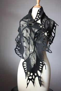 """felted scarf"" I seriously love this - Want to know the artist."