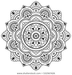 Circular pattern in form of mandala for Henna, Mehndi, tattoo, decoration. Decorative ornament in ethnic oriental style. Coloring book page. Mandala Art, Mandalas Drawing, Mandala Coloring Pages, Mandala Painting, Coloring Book Pages, Dot Painting, Mandala Tattoo, Circular Pattern, Mandala Pattern