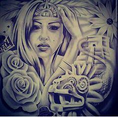 Chicano Art Tattoos, Chicano Drawings, Aztec Tattoos Sleeve, Og Abel Art, Aztec Drawing, Beautiful Drawings, Unique Drawings, Aztec Tattoo Designs, Gothic Artwork