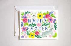 Happy Easter Card / Easter Bunny / Tulips / by StephanieTaraCooper