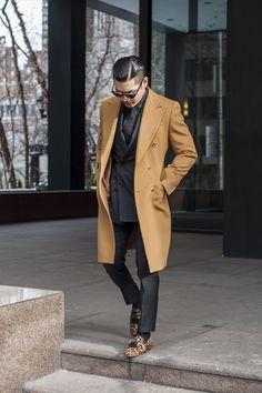Camel coat, Black Suit, Leopard Print Loafers...Class