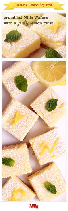 Creamy and smooth with a crumbly Nilla Wafers crust, these lemon squares perfectly combine tart and sweet.