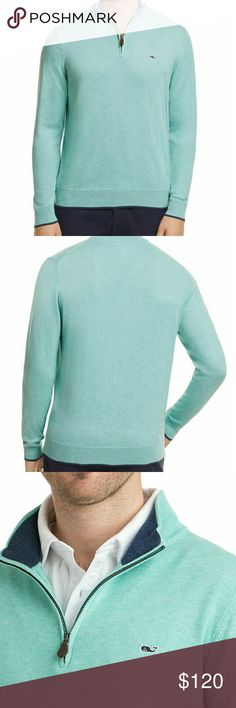 🍒Vineyard Vines🍒 Pullover sweater Excellent pre-loved 💖 condition, cotton pullover sweater in Hammond Green color. 1/4 zipper front  Fabrics: · 100% Pima cotton  Features: · Rib trim on collar, cuffs, and hem · Embroidered whale on chest · Striped interior collar · Antique brass zipper · Embossed leather zipper pull Vineyard Vines Sweaters Zip Up
