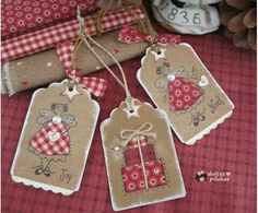 Use my stamps for tags Christmas Sewing, Christmas Gift Wrapping, Handmade Christmas, Gingerbread Christmas Decor, Christmas Decorations, Christmas Ornaments, Christmas Tree, Diy Cadeau Noel, Handmade Gift Tags