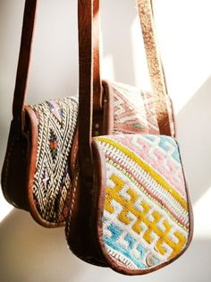 patterned purses.