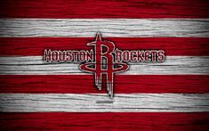 Download wallpapers 4k, Houston Rockets, NBA, wooden texture, basketball, Western Conference, USA, emblem, basketball club, Houston Rockets logo
