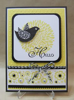 Savvy Handmade Cards: Betsy's Blossoms ... like the great layout .... black and white with yellow ... crisp mod look ... cut out bird ... lots of pearls on lower band ... luv it! ... Stampin' Up!