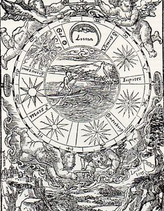 Luther Bible  1538, Cherubs turn the Primum Mobile, the seven classical planets are pictured on the wheel.